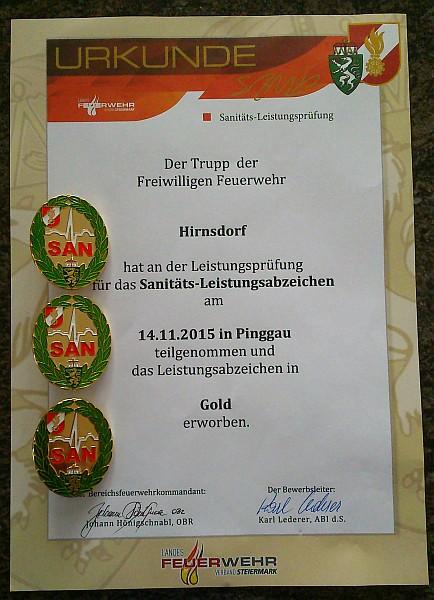 Bild: Urkunde GOLD